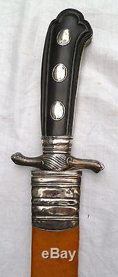 18thC ANTIQUE SILVER SWORD. GERMAN AUSTRIAN HUNTING HANGER SABRE cutlass KNIFE