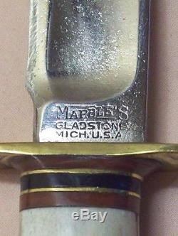 1930'sMARBLE'SGLADSTONE, MICH. IDEALANTIQUE STAG HUNTING KNIFERAZOR SHARP