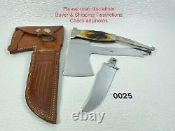 1930s Case's Tested XX Axe & Knife Combo Stag Leather Sheath Great Condition