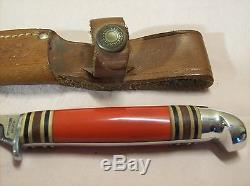 1950'sWESTERN AUTOPATENTED WESTERN CUTLERY HUNTING KNIFE withRED HANDLE & SHEATH