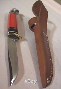 1950'sWESTERNBOULDER CO. PAT'D. RED HANDLE FISH & BIRD HUNTING KNIFE withSHEATH