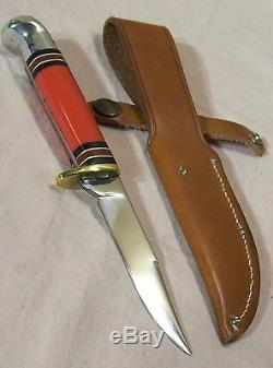 1960'sWESTERNL48BRED HANDLE HUNTING KNIFE withORIG. LEATHER SHEATHUNUSEDMINT