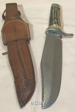 1960sF. A. BOWERALAMO BOWIE64/8LARGE GERMAN STAG HUNTING KNIFE withFANCY SHEATH