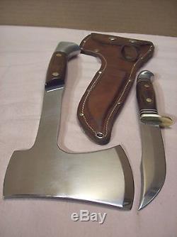 1970'sWESTERNW66 KNIFE & AXE COMBO withORIGINAL SHEATHHUNTING KNIFE & HATCHET