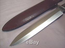 1990CASE XXLARGE STAG HANDLE DAGGER STYLE HUNTING KNIFE withORIG. LEATHER SHEATH