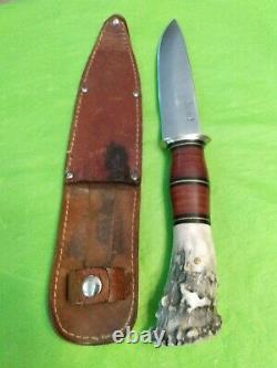 2005 SCAGEL CUSTOM MADE IN USA STAG & LEATHER FIXED BLADE KNIFE With ORIG. SHEATH