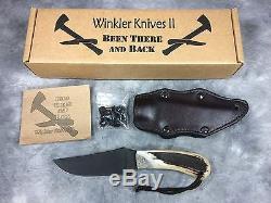 2014 WINKLER KNIVES II Caswell Finish Elk Antler 9-1/4 Hunting Belt Knife