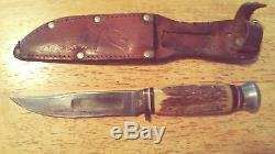 8 vintage fixed blade hunting knives lot Case XX, buck, marble's and more