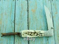 Ag Russell Engraved Stag Folding Art Jack Pocket Knife Hunting Vintage Knives Nr