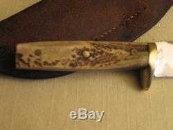 ANTIQUE HAND MADE HUNTING KNIFE WITH SHEATH by BILL SCAGEL SOLD THRU VL&A