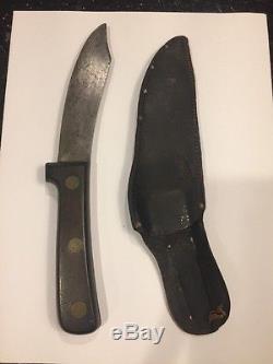 ANTIQUE HENCKELS CARBON STEEL ELLERY HUNTER HUNTING/SKINNING KNIFE WithORIG SHEATH