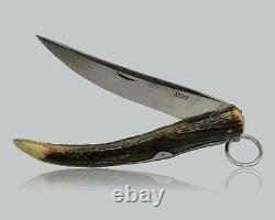 Ancien Stag Cornillon NOGENT Hunting Folding Knife Couteau Navaja WEBER LUCERNE