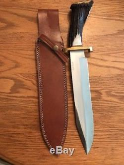 Andre Ronald Custom Handmade Crown Stag Bowie Survival Hunting Knife D2 Withcert