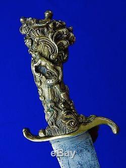 Antique German Germany 18 Century Figural Handle Short Hunting Sword Knife