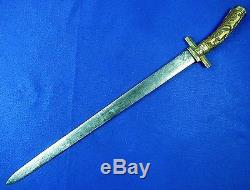 Antique German Germany 19 Century Hunting Carved Stag Dagger Knife Sword