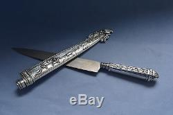 Antique Hunting Silverplated Dagger Knife Scabbard