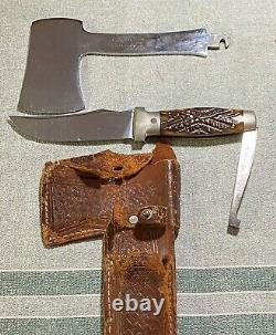 Antique Knife Hatchet Set Case XX Stag Handle Patent 1935 Woven Leather Sheath
