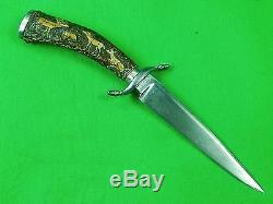 Antique Old German Germany 19 Century Hunting Knife Dagger Carved Stag Handle
