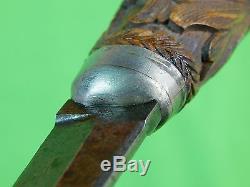 Antique Old Sweden Swedish Hunting Knife Carved Wood Handle