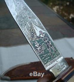 Antique Scouting Color Engraved Solingen Hunting Knife Original Leather