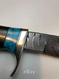 Audra MS Draper Knives Custom Damascus Hunting Knife With Sheath Turquoise 8.5
