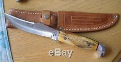 BEAUTIFUL 1976 Case XX USA 523-5 Razor Edge Stag Knife w Sheath NEVER USED