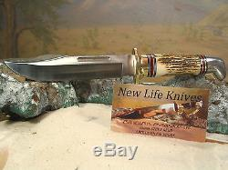 Buck 119 Custom Real Stag Western Hunting Knife With Sheath Unsharpened S. Reed