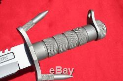 BUCK BUCKMASTER 184 SURVIVAL HUNTING KNIFE HOLLOW HANDLE With SPIKES & POUCH Rambo