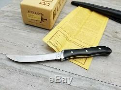 BUCK Knives 107 SCOUT Skinner Deer Knife BLACK Micarta Hunting circa 1970's NICE