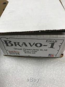 Bark River Knives Bravo 1 USMC Field Ghost Green Jade G10 Blue Liners kydex
