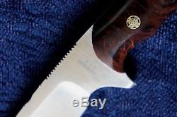 Barry Dawson USA Knives Custom Edc Hunting Hunter Knife Burl Wood Mosaic Pins