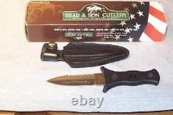 Bear & Son Boot Knife Double Edge Dagger With Sheath Never Used Made In The USA