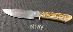Beautiful R. Polk Custom Handmade Damascus Steel Hunting Knife from Collection