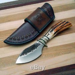 Behring Alaskan Custom Handmade hunting knife Stag Musk-Ox Hammer Mark