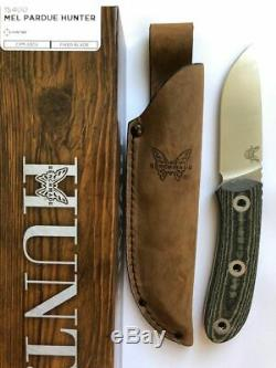 Benchmade 15400 Mel Pardue Hunter Fixed Satin Blade Hunting Knife Micarta Handle
