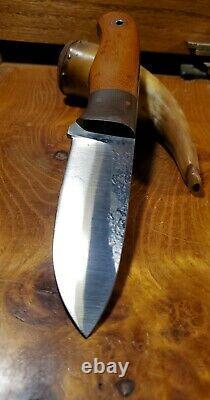 Big Beefy Fiddleback Forge Bushcrafter Drop Point Knife Osage Orange OD Green