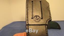 Bob Lay Personal Knife Custom Hunting Carry Buffalo Horn Leather Sheath Nickel