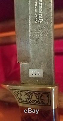 Browning Damascus Hunting Knife 353 of 500 mint in display box Germany Rare