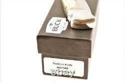 Buck 110 Knife Custom Shop Finger Groove S30V Drop Point Burlwood Nickel Silver