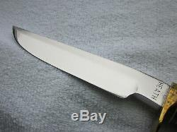C. Pete HEATH 10.5 hunting knife rosewood handle w Sheath and stone, excellent