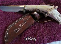 CARVED Lakota Sioux CUSTOM CRAFTED FIXED KNIFE 1900s