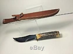 CASE XX Bradford, PA. 19 USA 91, 523-5 SS Stag, 9 Fixed Blade Knife with Sheath