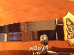 Custom Handmade Ted Bollenbach Scrimshaw Bone Fixed Blade Hunting Knife & Sheath