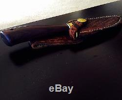 Custom Draper Knife With Sheath Hunting Bowie Knife Excellent Condition