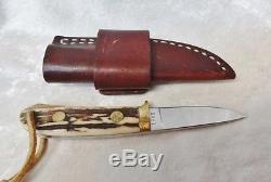 Custom Hand Made 70's Russ Andrews ERA II Drop Point Skinner Hunting Stag Knife