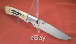 Custom Hunting Knife made by Hal Solum Bone stag Handle Leather Scabbard Knives