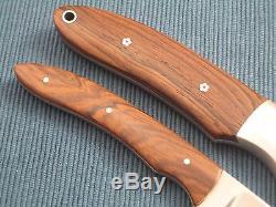 DAVE RICKE Custom Handmade Fixed Blade Hunting Set (2 Knives), Piggyback Sheath