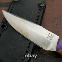 Dan Tope Knives CPM-3V 3.5 edc Purple/Gold swirl with leather sheath custom
