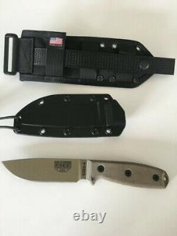 ESEE-4 Fixed Blade Knife 4.5 Drop Point 1095 Carbon Steel Blade micarta scales
