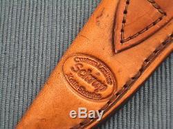 Early DAVID BROADWELL Hunter, Fixed Blade Hunting Knife, Schrap Leather Sheath